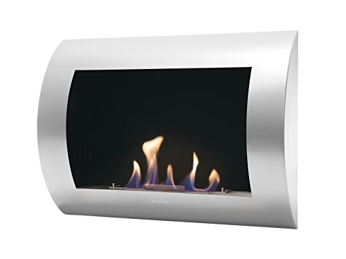 PURLINE INOX CLASIC - Bio-ethanol fireplace with Steel wall, lacquered Grey (Silver)
