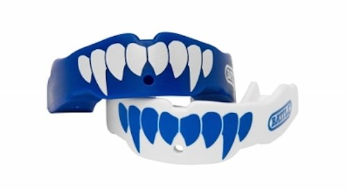Battle Fangs Football Mouthguard – Sports Mouth Guard with Removable Strap – Protector Mouthpiece Fits With or Without Braces on Teeth – Adult & Youth Mouth Guard Sizes, 2 Pack, Youth (Age 9 & Below), Blue/White
