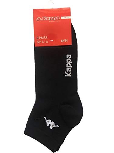 Kappa, 6 paia di mini calza fantasmino altezza caviglia in cotone elasticizzato. Nero 45/47