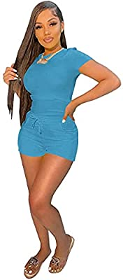 Materials: 35% Cotton + 65% Polyester.Comfy,Breathable material and soft texture.Non see through Design: Short sleeve tshirt tops, Biker shorts, Solid Colors, Casual activewear, Bodycon athletic clothing sets, Fashion women's petite tracksuits Occasi...