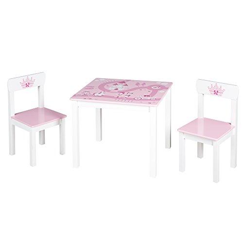 roba Kinder Sitzgruppe \'Krone\', Kindermöbel Set aus 2 Kinderstühlen & 1 Tisch, Sitzgarnitur mit Prinzessin/Schloß/Einhorn Bedruckung in rosa