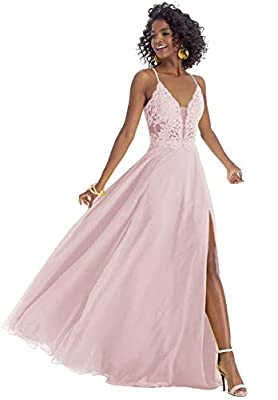 Dress Feature: A-Line, V-Neck, Side Slit, Spaghetti Strap, Lace Corset, Long/Floor-Length, Open Back, Built-In Bra High Quality Elegant Dresses for Women; Blush Pink Long Prom Gown 2020; Floor Length Evening Ball Gown; Lace Bridesmaid Dress; Christma...