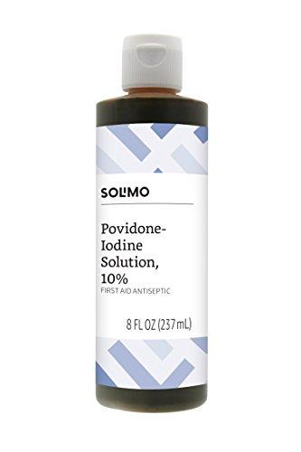 Amazon Brand - Solimo 10% Povidone Iodine Solution First Aid Antiseptic, 8 Fl Oz