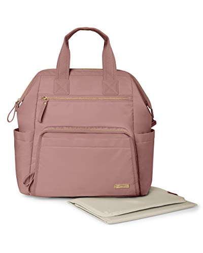 Skip Hop Skip Hop Diaper Bag Backpack: Mainframe Large Capacity Wide Open Structure with Changing Pad & Stroller Attachement, Dusty Rose, Blush
