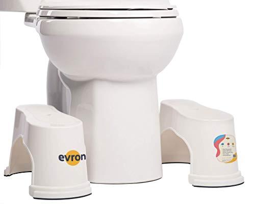 Evron,Potty Step,Toilet Stool Potty Bathroom Squatting Stool Healthier Way Toilet Posture Space Saver Stackable Toilet Stools,7' Height (White 1 Pairs)