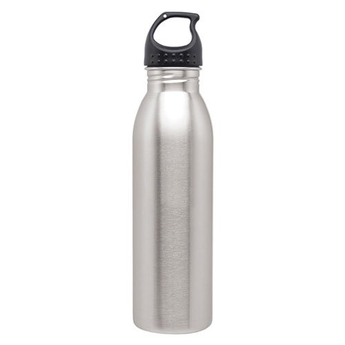 Simply Green Solutions Slim Line Stainless Steel Water Bottle Canteen - 24oz. Capacity - Brushed Stainless