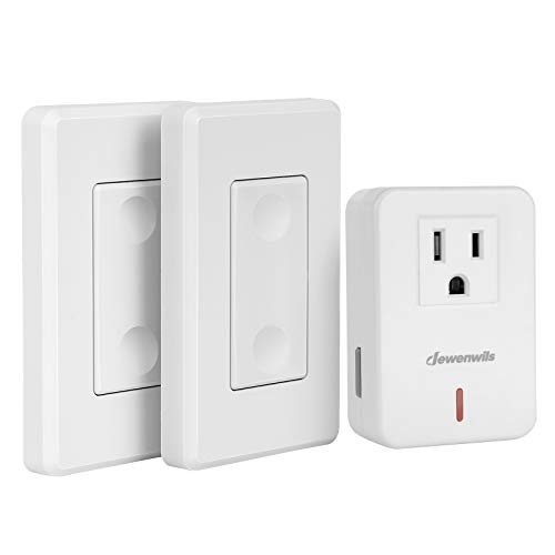 DEWENWILS Wireless Remote Wall Switch and Outlet, Plug in Remote Control Light Switch, No Wiring, Expandable, 100 ft RF Range, ETL Listed (2 Switches and 1 Receiver)