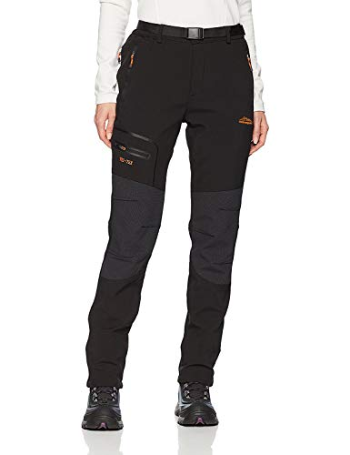 BenBoy Women's Outdoor Waterproof Windproof Fleece Cargo Snow Ski Hiking Pants,SF1602W Black M