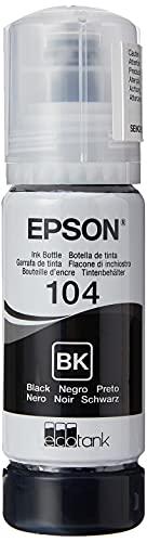 Epson Serie 104 Bottiglia di Inchiostro EcoTank Black Ricarica Agevole Serbatoi Stampante, Flacone Nero 65ml Stampa fino 4500 Pagine Casa Ufficio