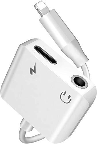 Adattatore Jack per iPhone 8 Connettore per cuffie Adattatore Jack 3,5mm AUX Audio Stereo cavo per iPhone 7/7Plus/8/8Plus/X/XS Max/XR/11 2 in 1 doppio convertitore splitter Supporto Tutto iOS - Bianco
