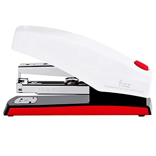 Fizz Morderne - Cucitrice da ufficio con bottone pop-up, per punti metallici tipo 24/6 mm (rosso/bianco)