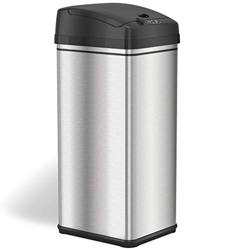 iTouchless 13 Gallon Stainless Steel Automatic Trash Can with Odor-Absorbing Filter and Lid Lock, Sensor Kitchen...