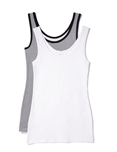 IRIS & LILLY Camiseta de Tirantes de Algodón para Mujer, Pack de 2, 1 x Blanco & 1 x Rayas Blancas y Negras, Large