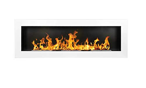 Bio Ethanol Fire BioFire Fireplace Modern 1200 x 400 White