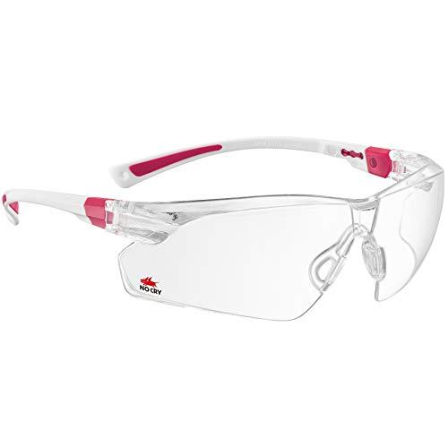 NoCry Schutzbrille mit Durchsichtigen Anti-Beschlag und kratzbeständigen Gläsern, Seitenschutz und Rutschfesten Bügeln, UV-Schutz, verstellbar (weiß & rosa)