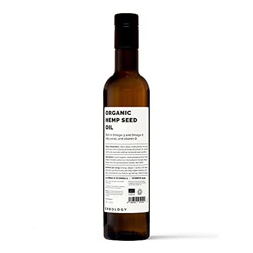 Bio Hanföl 500ml - Kalt Gepresst - Kosher - Reich an Omega 3 und Vitamin D