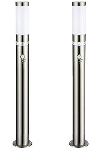 Dalux® 2x LISA Edelstahl-LED-Außen-Garten-Steh-Wege-Balkon-Terrassen-Pool-Eingangs-Treppen-Leuchte-Lampe mit Hauptlicht E27 und LED-Grundlicht und Bewegungsmelder, Dämmerungssensor
