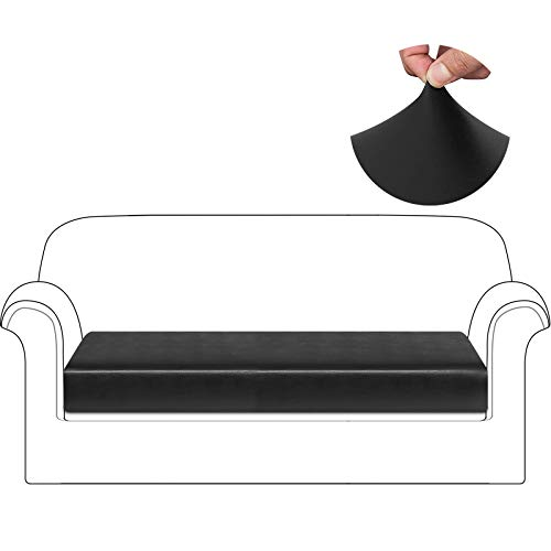 HDCAXKJ Waterproof Leather Couch Cushion Covers Stretch Sofa Seat Cover for Loveseat Sectional Sofa Slipcovers Anti Slip Pet Dog Furniture Protector with Elastic Bottom and Straps (Black, Large)