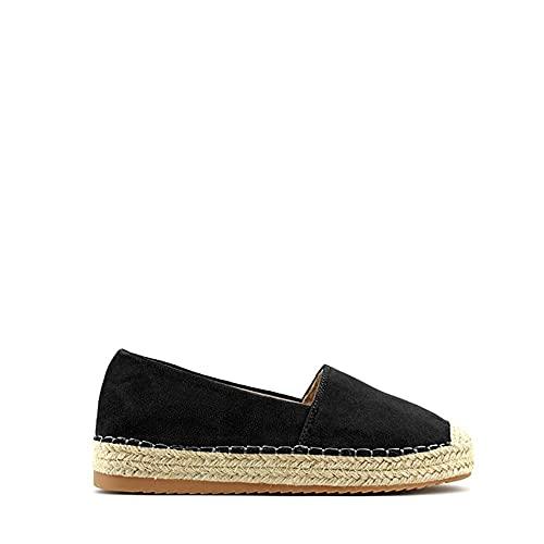 Modelisa - Zapato Alpargata Plana para Mujer (Negro, Numeric_41)