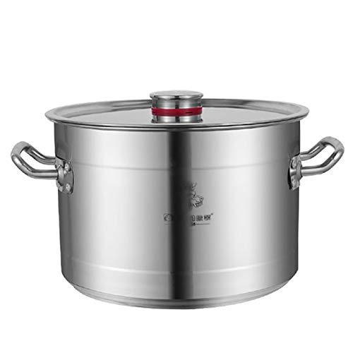 Pentole fumanti Pentola di riserva, grande vaso di zuppa di acciaio inossidabile spessa con coperchio per catering uso commerciale per stufa a gas/fornello a induzione (10-80L) Recipiente di cottura