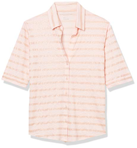 Striped metallic linen/elastane style Button down front Cuffed sleeves