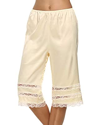 Avidlove Pettipants Slip is made of Anti-static Nylon,Ultra-soft silk satin fabric offers lightweight smoothing and all day comfort. Generous cut,draping style. Culottes Slips with wide leg bloomers design, mid elastic waist and pretty lace panel tri...