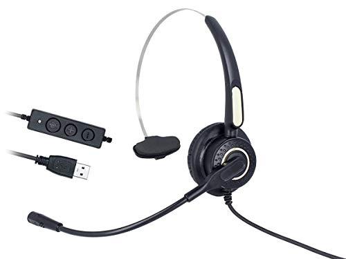 LEDLUX VH500S Cuffia Monoaurale Con USB Microfono Auricolare Professionale Per PC Notebook Aziendale Ufficio Call Center Skype Uso Business