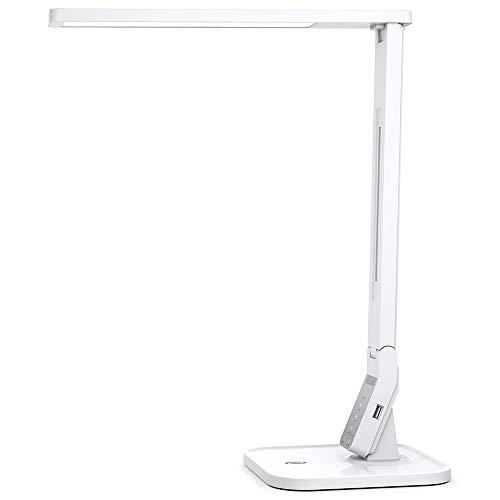 Schreibtischlampe LED TaoTronics Dimmbare Lampe mit 4 Farbmodi & 5 Helligkeitsstufen (5V/1A USB-Ladeanschluss, 140 Grad Drehbarer Arm, 1-Stündiger Auto-Off Timer, Touchsteuerung & Memory-Funktion)