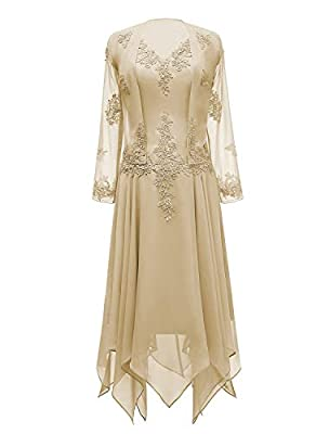 V Neck Appliques Long Sleeves Mother of The Bride Dress. Fully lined with built-in bra In order to make dress perfect on you, we suggest you offer your accurate measurements. It's free of charge. Please Use The Size Chart Image on the Left. Do not us...