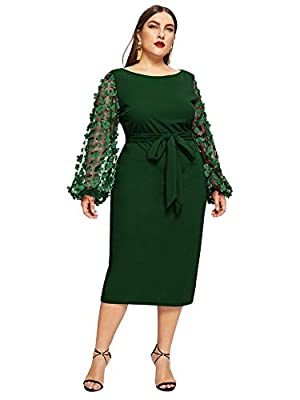 Fabric has some stretchy, skin touch material, Plus size, round neck, 3D applique long sheer sleeve, contrast mesh, knee length, high waist pack hip fitted dress with belt. Elegant and casual style, bodycon fit, good for women and teenager girls. zip...