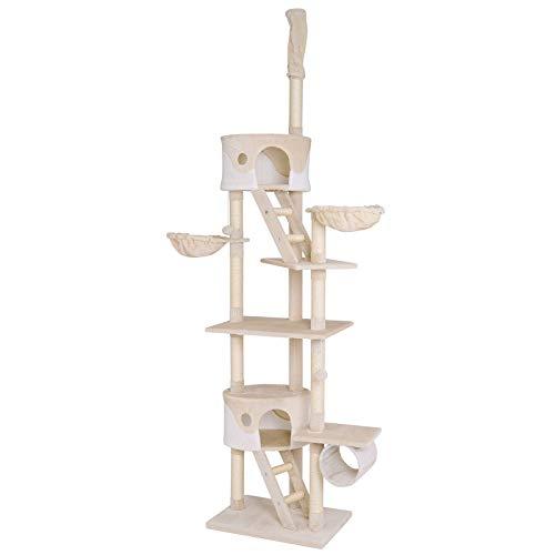 dibea Árbol para gatos rascador para escalar Altura ajustable 230-250 cm beige/blanco