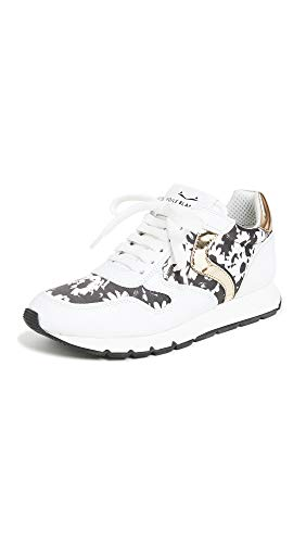 Leather: Cowhide Rubber sole Metallic accents, Floral technical weave panels, Leather footbed, Cushioned collar and tongue