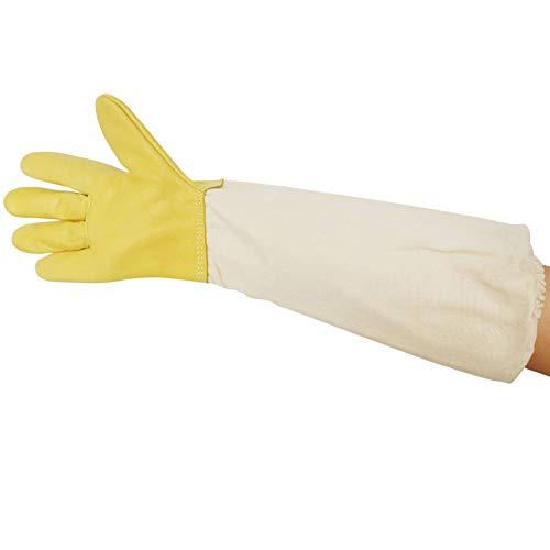 Probeeallyu - Guanti protettivi per apicoltori in pelle di capra con maniche in cotone spesso...