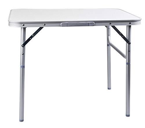 Camp Active - Tavolo Pieghevole in Alluminio, Argento, Regolabile in Altezza 75x 55x x 25 - 59 cm