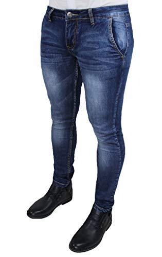 Evoga Jeans Uomo Pantaloni Slim Fit Aderenti Blu Scuro Denim Casual (48, Blu Scuro)