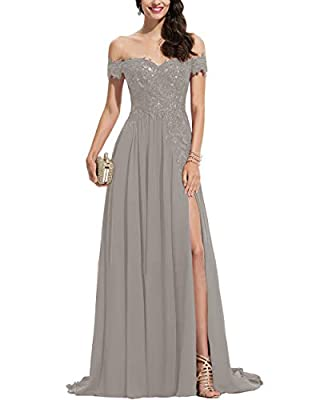 Off shoulder lace appliqued chiffon prom dresses split side, a-line formal evening dresses with train, bridesmaid dresses long 2020, wedding party dresses for women Size: Please refer to our size chart to choose the right size for yourself. If you ne...