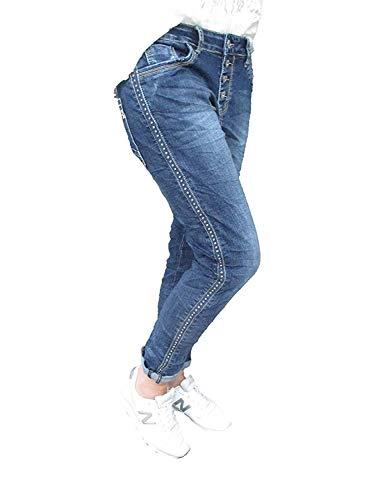 Karostar Stretch Baggy Boyfriend Jeans Nieten Seitenstreifen Denim...