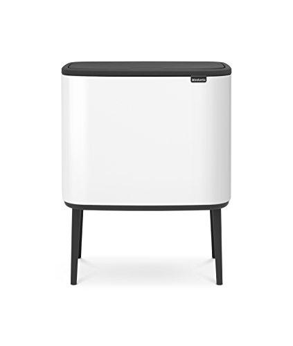 Brabantia 313547 Bo Trash Can, 11 + 23 L, White