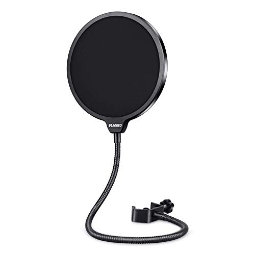Aokeo Professional Microphone Pop Filter Mask Shield For Blue Yeti and Any Other Microphone, Mic Dual Layered Wind Pop Screen With A Flexible 360° Gooseneck Clip Stabilizing Arm