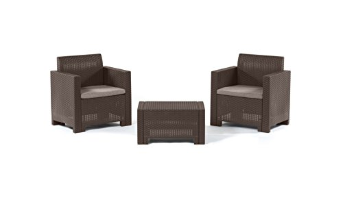 Bica 9073.3 Set Nebraska Salottino 2 Posti, Marrone, 155 x 150 x 79 cm