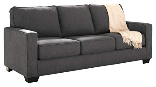 Signature Design by Ashley - Zeb Contemporary Microfiber Sleeper Sofa - Queen Size Mattress - Charcoal