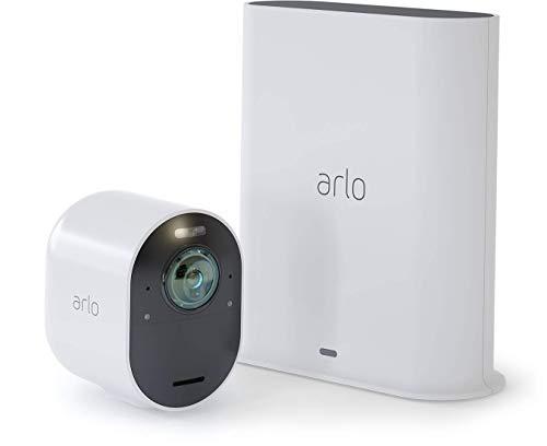 Arlo Ultra VMS5140 Sistema di Videosorveglianza Wi-Fi con Telecamera di Sicurezza 4K, Audio 2 Vie, Luce, Bluetooth, Visione 180° Diurna/Notturna, Interno/Esterno, Compatibile con Alexa/Google Wi-Fi