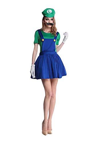 thematys Super Mario Luigi Gorra + Vestido + Barba + Guantes - Conjunto de Vestuario para Mujer Carnaval y Cosplay (XL, Talla 170-175cm)