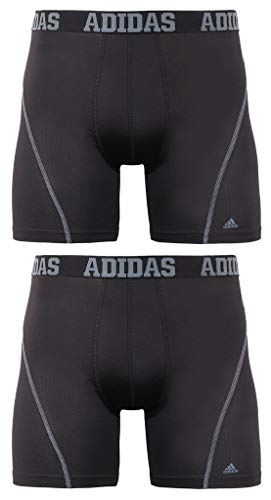 adidas Men's Sport Performance Climacool Boxer Brief Underwear (2-Pack), Black/Grey Black/Grey, MEDIUM