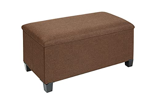 """Fresh Home Elements Hidden Storage, Extra Seating, Foot Rest, Collapsible FHE 30"""" Inlaid Coffee Table Ottoman Bench, Brown, 30 x 15 x 18, Premium Wood Tray and Feet, Rich Linen Upholstery"""