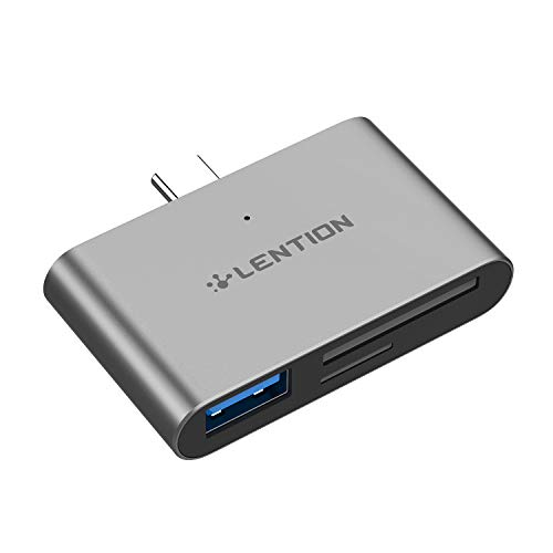 LENTION USB C to SD/Micro SD Card Reader with USB 3.0 Adapter Compatible 2020-2016 MacBook Pro, MacBook 12, New iPad Pro/Mac Air, New Surface, Chromebook, Phone/Tablet, More (CB-CS15, Space Gray)