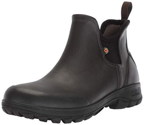 Bogs Men's Sauvie Slip On Low Height Chukka Waterproof Rain Boot, Dark Brown, 10 M