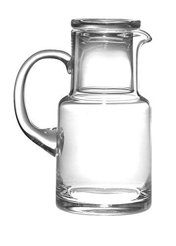 Barski - European Quality Glass - 2 Piece Water Set -Bedside Night Water Carafe/Desktop Water Carafe - With Handle - With Tumbler - Carafe is 20 oz. - Made in Europe