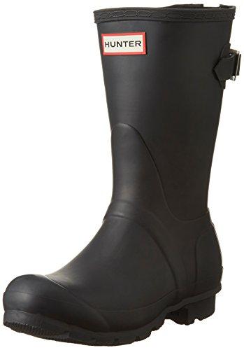 HUNTER Original Short Back Adjustable Rain Boots Black 10 M