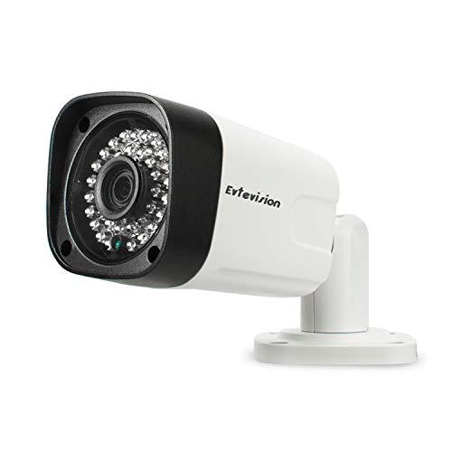 Evtevision POE Cámara IP para exteriores SHD 5MP Videovigilancia con visión nocturna 30m, IP66 Impermeable, Detección de movimiento, Acceso remoto